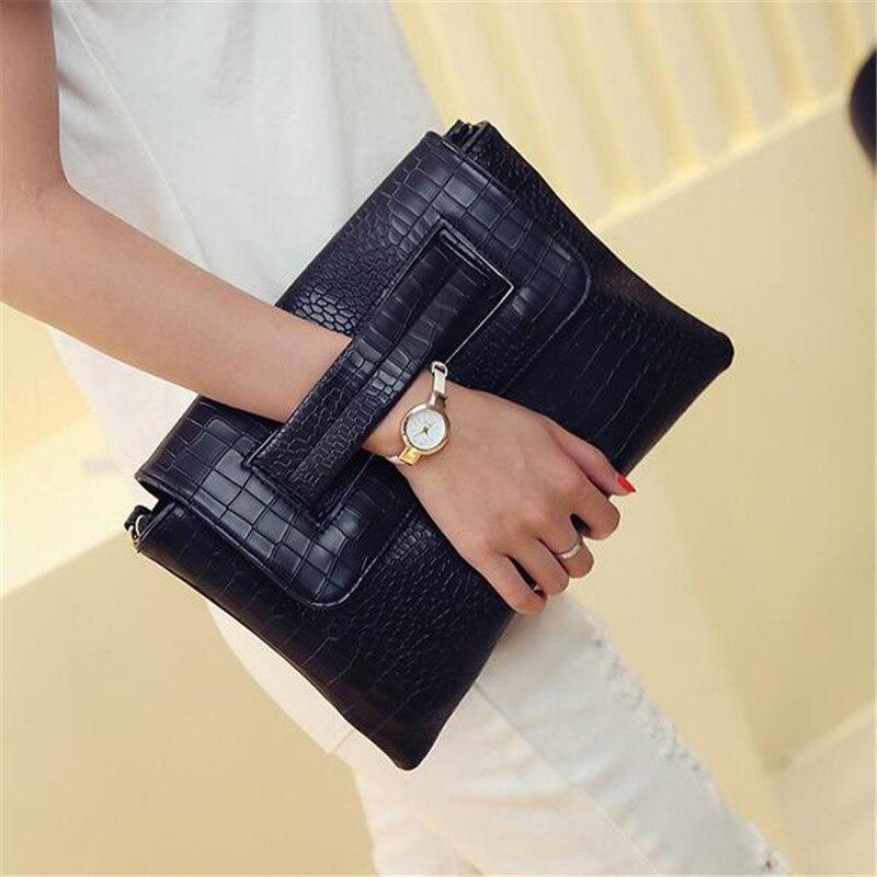 2016 High Quality PU Casual Women Handbags Pocket Solid Evening Bag Tote Envelope Bags Crossbody Clutch