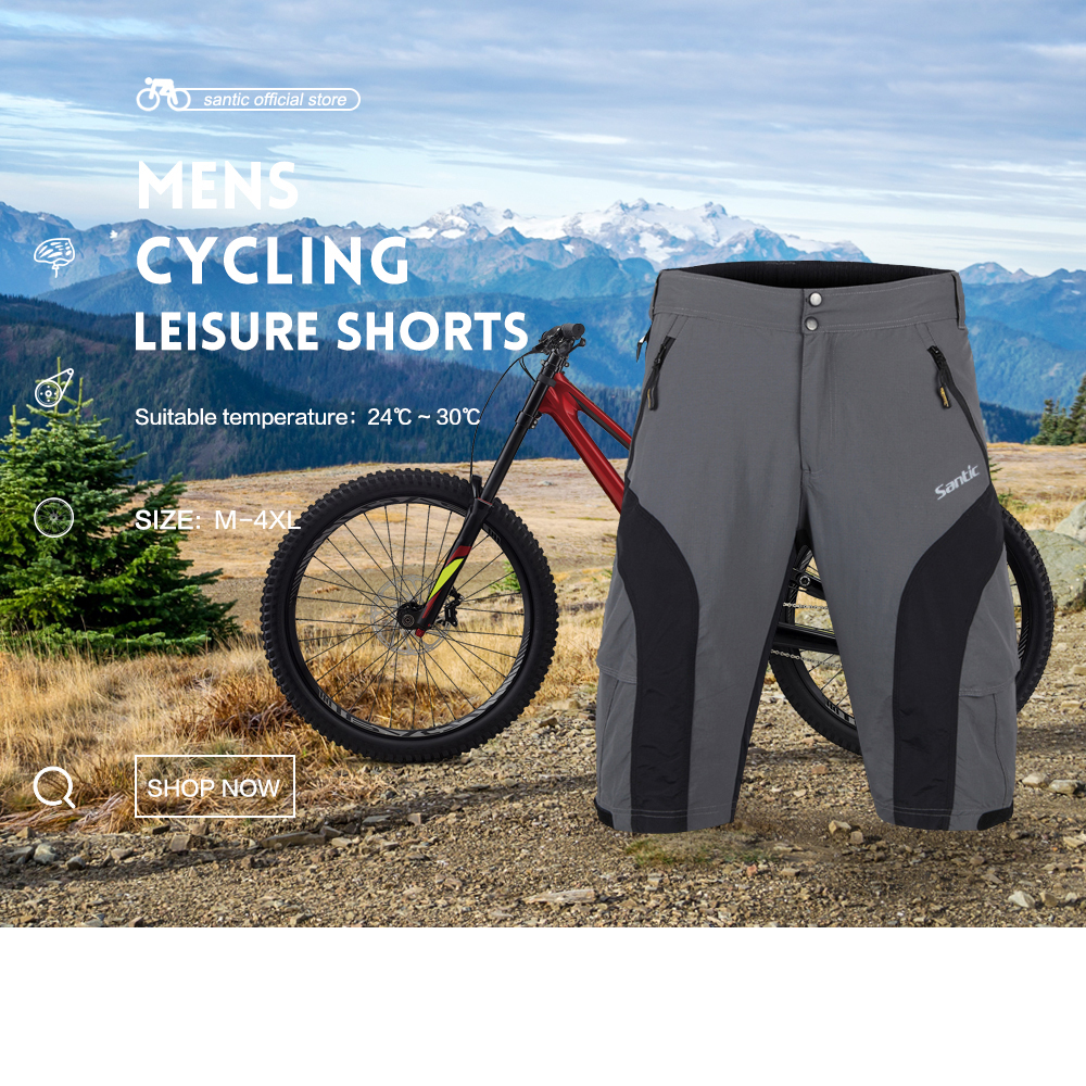 Santic Erkekler Gevşek Bisiklet Şort Bisiklet MTB Yol Gri Baggy Şort Bisiklet Çıkarılabilir Yastıklı Jel Bisiklet Açık Şort 4XL MC05043