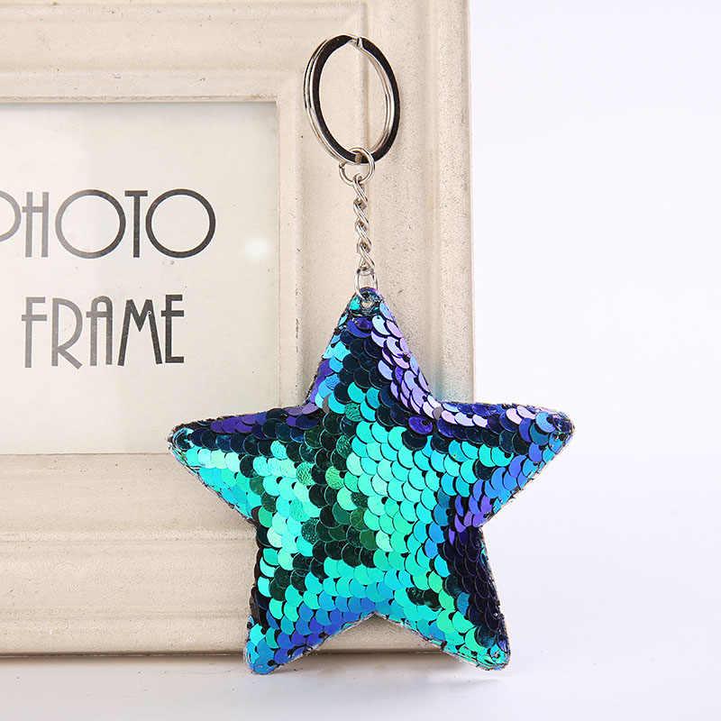 Bonito estrela da sereia chaveiro glitter pompom lantejoulas chaveiro presentes feminino llaveros mujer encantos saco do carro acessórios chaveiro