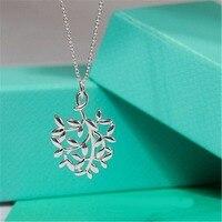 Tiff Olive Leaf Pendant Necklace 100% 925 Sterling Silver Elegant Lady Genuine Pendant Nature Fashion Jewelry Gift