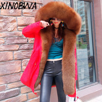 New 2018 Winter Women Large Natural Real Fox Fur Collar Thick Warm Faux Lining Coats Jackets Female Casual Plus Size Outwear Hot