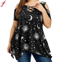 2019 Women Plus Size 5XL Cold Shoulder Blouse Ladies Summer Front Cross Printing Short Sleeve Tunic Shirt Tops blusas mujer #4(China)