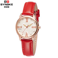 2016 High Quality Synoke Fashion Ladies Watch Quartz Women Really Leather Strap Watch Dress Women Watches
