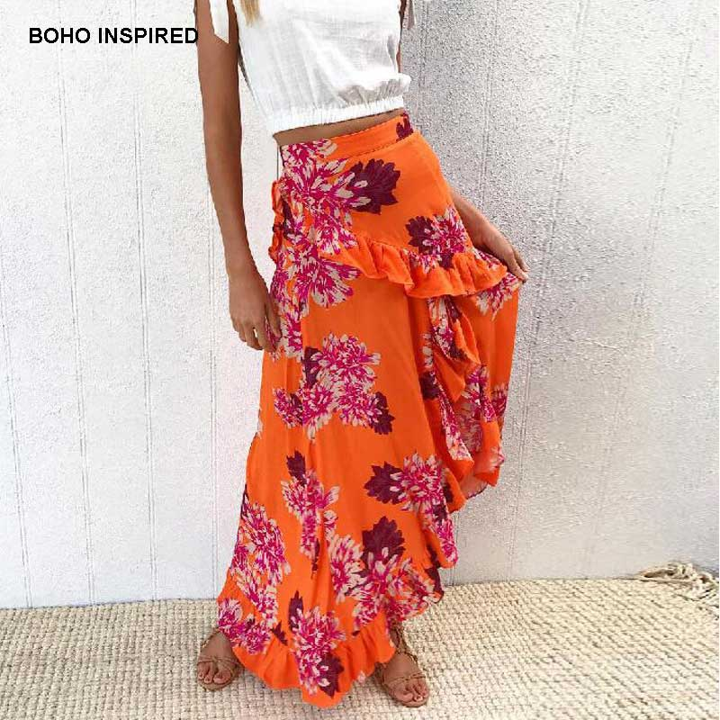 cb697b0a9 BOHO INSPIRED orange floral print long skirts women Summer frill beach maxi  skirt casual asymmetrical skirt 2018 Faldas