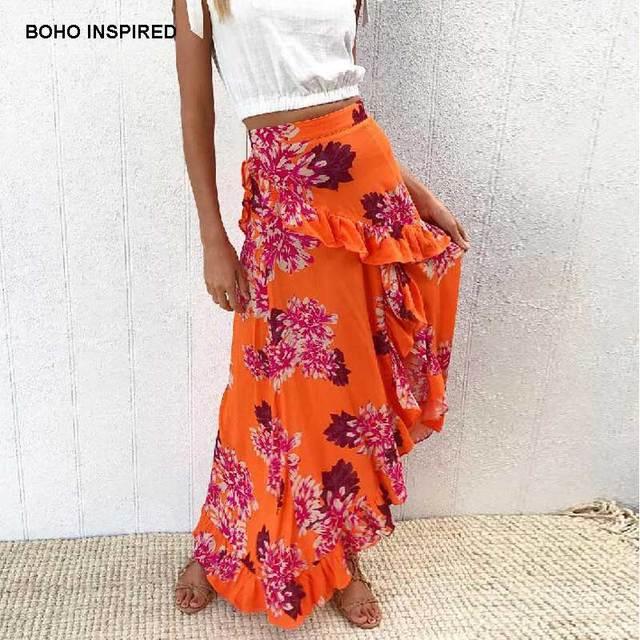 98671b3c32 BOHO INSPIRED orange floral print long skirts women Summer frill beach maxi  skirt casual asymmetrical skirt 2018 Faldas