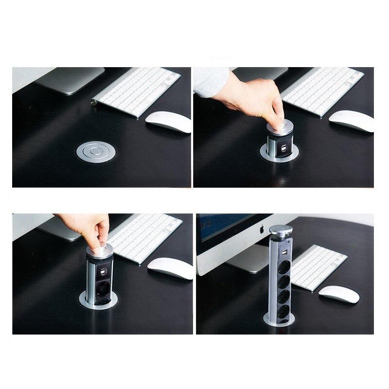 Bcsongben PULL Table socket POP UP 3 Power Socket 2 USB Charging Port Desktop 16A Sockets Hidden Kitchen Table  Worktop EU Plug