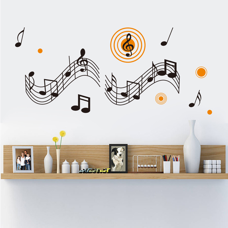 US $15.89 47% OFF|Large Removable Music Decoration Music Room Decor Living  Room Wall Decor Note Vinyl Paper Wall Art Decal Mural Wall Sticker-in Wall  ...