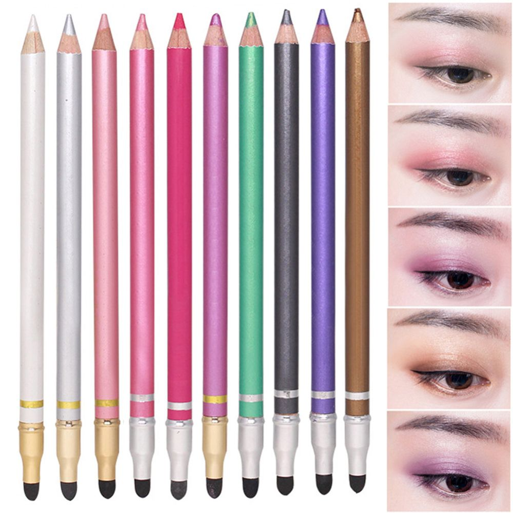 10 Colors Double-headed Pearlescent Eye Shadow Pencil High-light Lying Silkworm Pen Brightening Waterproof Eye Liner Pencil