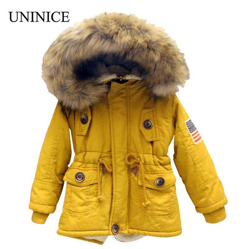UNINICE 2-9T girls boys coats and jackets winter Korean boys USA flag hooded coat thick cotton warmer kids winter coat girls casual 2016 winter jacket for boys warm jackets coats outerwears thick hooded down cotton jackets for children boy winter parkas