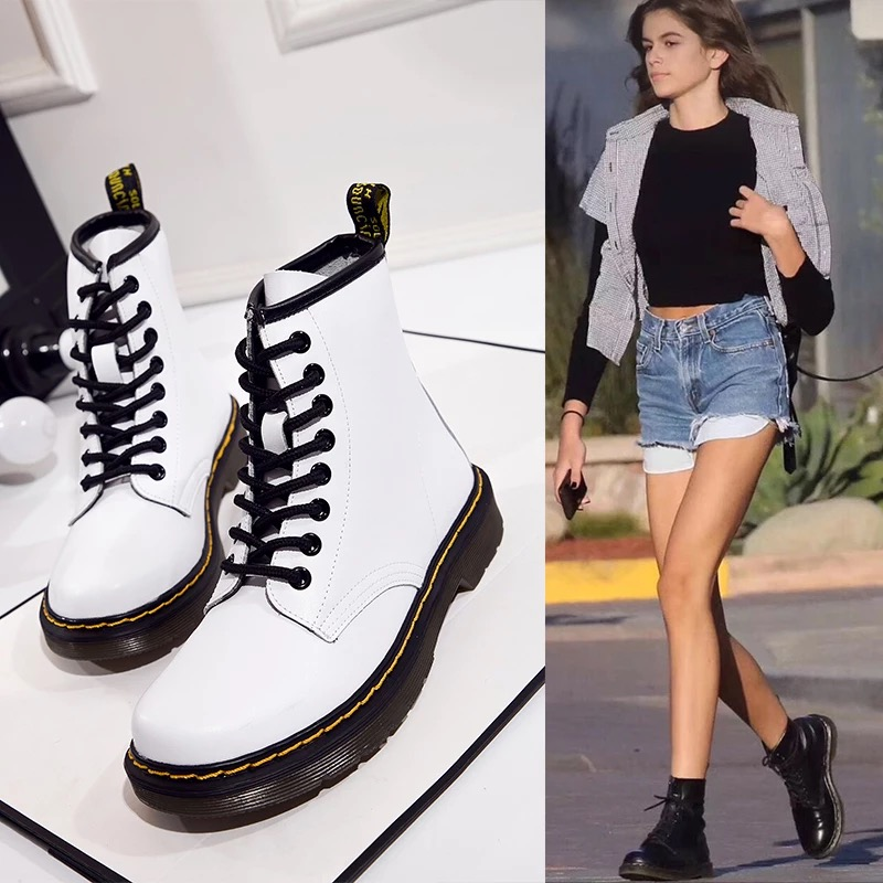 Women Boots Autumn & Winter Low-heeled 3cm British Martin Boots Female Cow Leather Lovers Short Boots Women Shoes Plus Size 46 whitesun plus size boots women martin boots autumn winter shoes female ankle boots buckle retro style chunky heel short boots