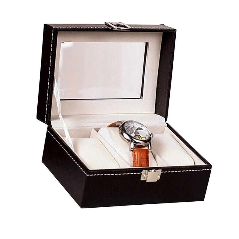Fashion Jewelry Storage Cases PU Leather Body Glass Mirror Display Box 3 Cell Watch Necklace Showing Organizer Carring Boxes
