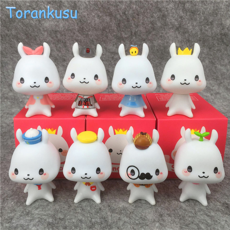 ><font><b>Kawaii</b></font> Anime figure Cartoon puppy dog lovely bunny rabbit ornaments doll car Toys Dolls for Kids Girls new year Gifts <font><b>8pcs</b></font>/<font><b>set</b></font>