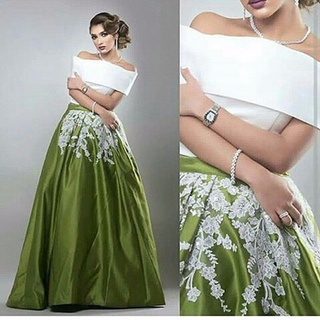 1f3113c1056 Long Arabic Style Evening Dresses Off the Shoulder Satin A Line Lace Floor  Length Boat Neck