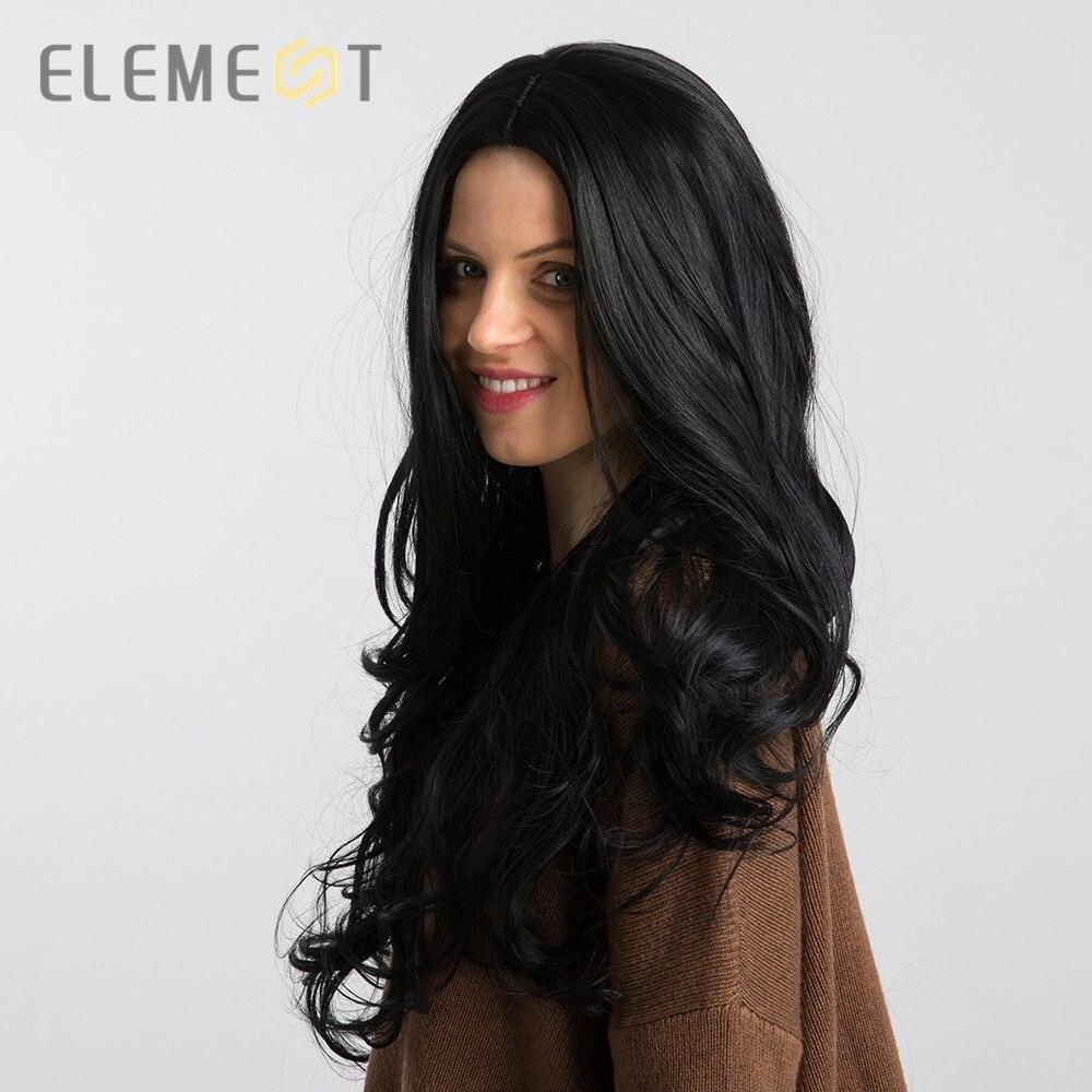 Elemento longo preto resistente ao calor sintético onda natural perucas de cabelo arrancadas perucas de linha fina para branco/preto feminino cosplay wear