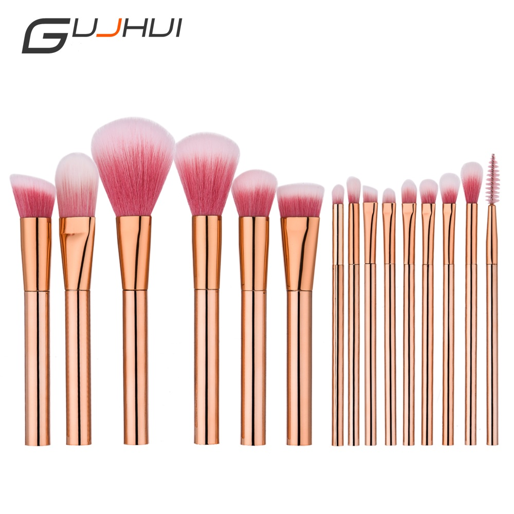 New Arrival 15pcs Golden Rose Makeup Brushes Set High Quality Cosmetic Foundation Eye shadow Blusher Powder Blending Brush Set new 20 pcs professional makeup beauty cosmetic blush golden brushes kits used for blusher foundation powder etc top quality