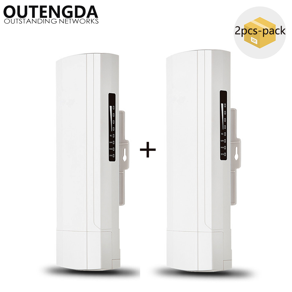 (2PCS-pack) Wireless Outdoor CPE AP 3km Long Range 2.4Ghz 300Mbs 14dBi ANT WiFi Bridge Wireless AP Router 24V POE Adapter Inc