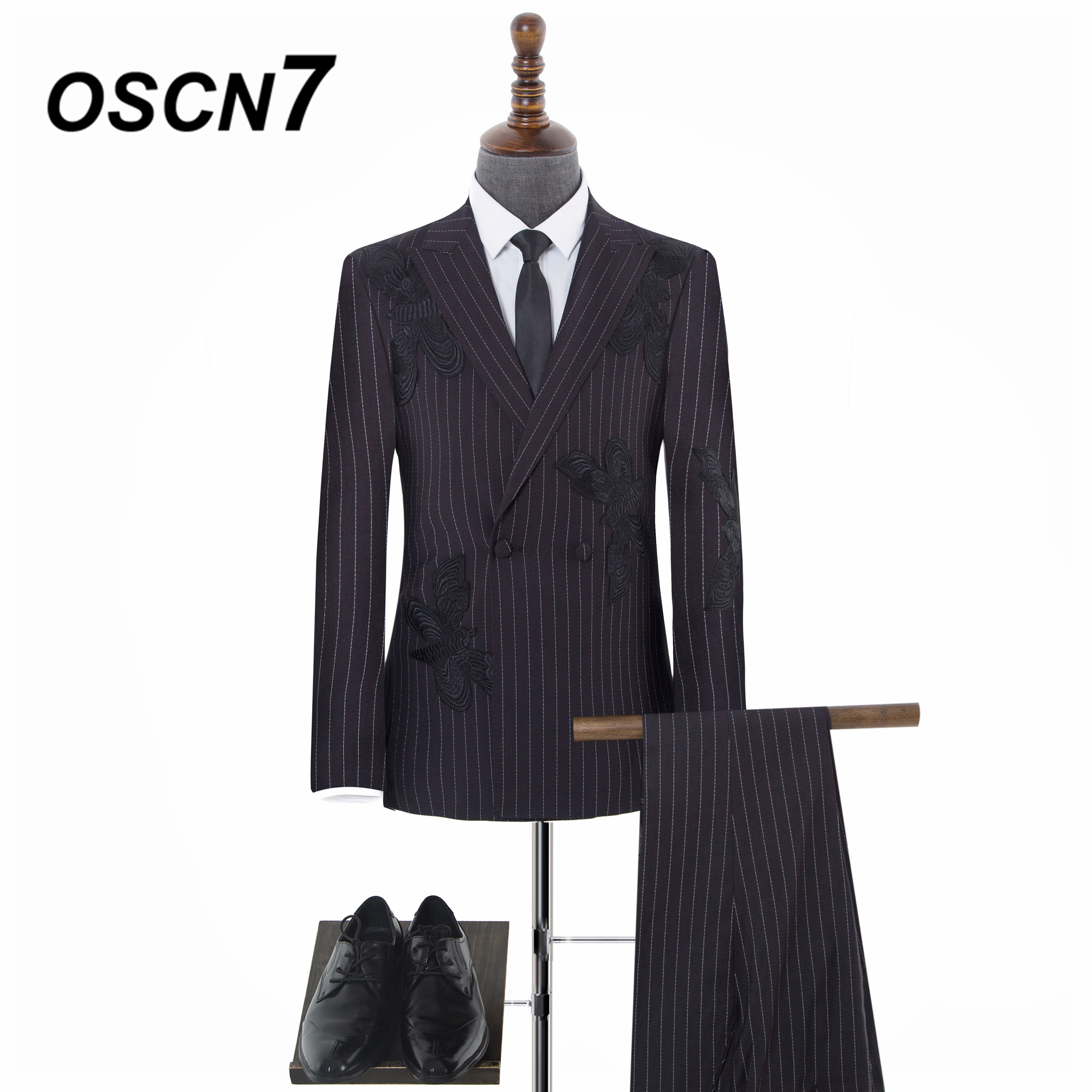 OSCN7 High-end Butterfly embroidery Stripe Tailor Made Suits