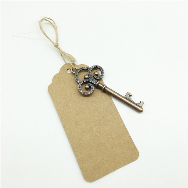 100pcs Wedding Souvenirs Skeleton Bottle Opener + Tags Wedding Favors and Gifts for Guest Party Favors Festive Party Supplies