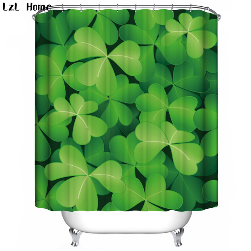 LzL Home leaf bamboo tree fabric shower curtain Chinese finished elegant polyester waterproof printed curtains for the bathroom