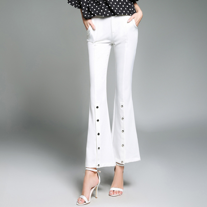 Colourstone New Flare Pants Women Formal Skinny Full Length Women Trousers White Capris ...