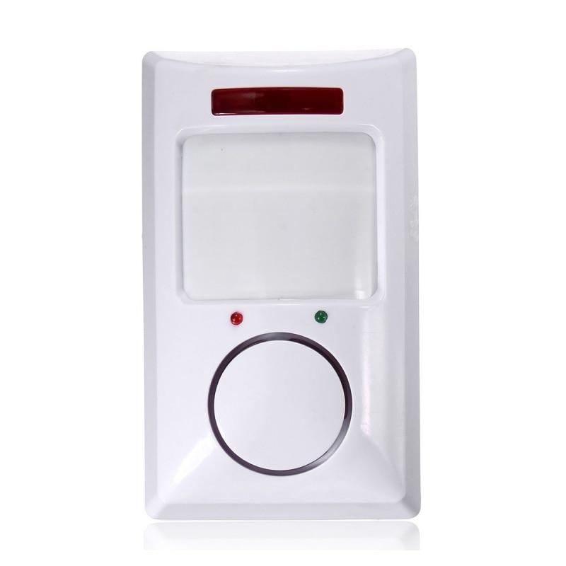 Wireless IR Motion Sensor Detector & 2 Remote Home Security Burglar Alarm System White