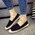 2016 spring summer rivet women casual flat shoes round toe loafers Espadrilles Boat Shoes woman grid lazy hemp rope Weave shoes