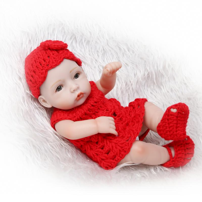 2017 new 10inch miniature preemie newborn baby doll soft silicone vinyl body gift for children on Christmas
