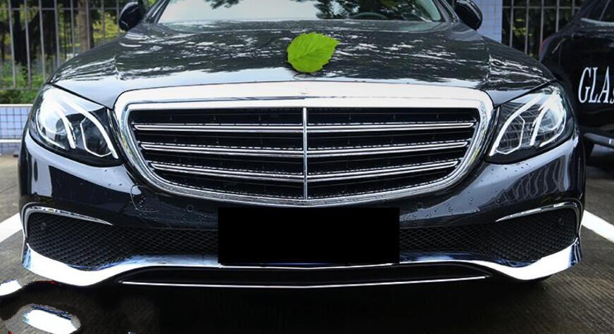 3pcs Band New ABS Chrome Front Grille lower Bumper Lip Cover Trim for Mercedes Benz E