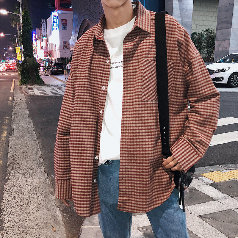 Fashion Casual Men's Cotton Long-Sleeved Shirt Spring And Autumn New M-Xl Striped Loose Shirt Personality Youth Popular