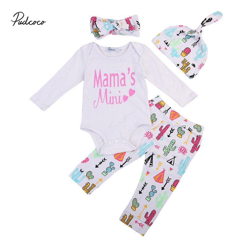 Newborn Toddler Baby Girls Clothes New Style Long Sleeve Romper Jumpsuit +Pants +Hat+Headdress 4pcs Outfits Baby Clothing Set