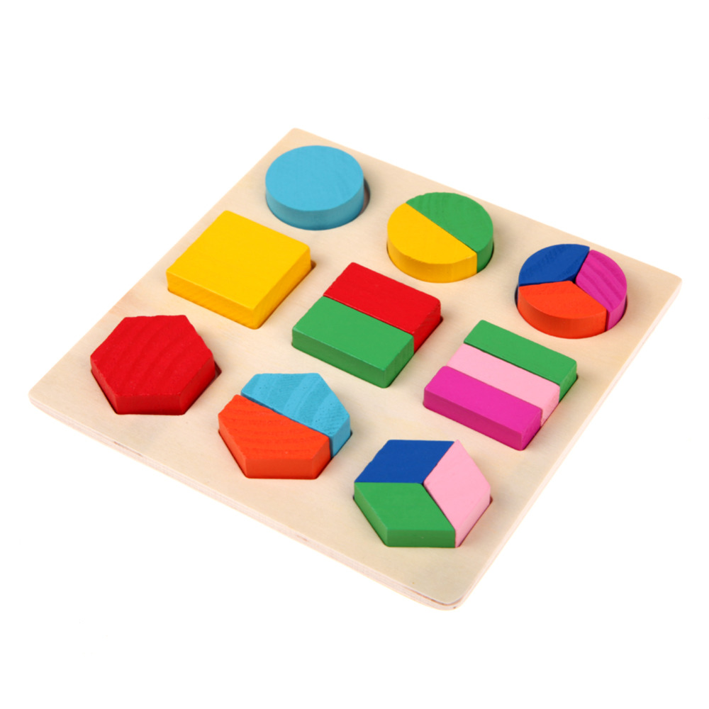 Kids 3D Puzzle Wooden Toys Colorful Geometry Shape ...
