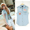 Denim Vest Women Casual Colete Coat Vintage Cardigan Jean Sleeveless Turn-down Collar Breasted Colete Woman Clothing 2015