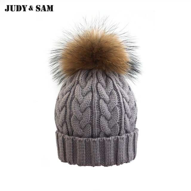 01674f50fad Cable Knitting Women Hat With Raccoon Fur Pom Poms Warm Winter Colorful Hip  Hop Men Cap