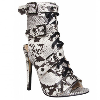 EMMA KING Fashion Snake Skin Ladies Sandals Zipper Thin Heels Buckles Strap Party Dress Peep Toe Ankle Womens shoes Big Size 43