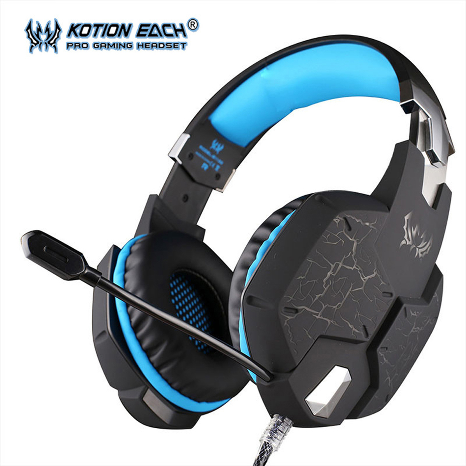 KOTION EACH G1100 Professional Gaming Headset PC gamer Headphone with Mic Breathing LED Light Vibration Function for Computer each g1100 shake e sports gaming mic led light headset headphone casque with 7 1 heavy bass surround sound for pc gamer