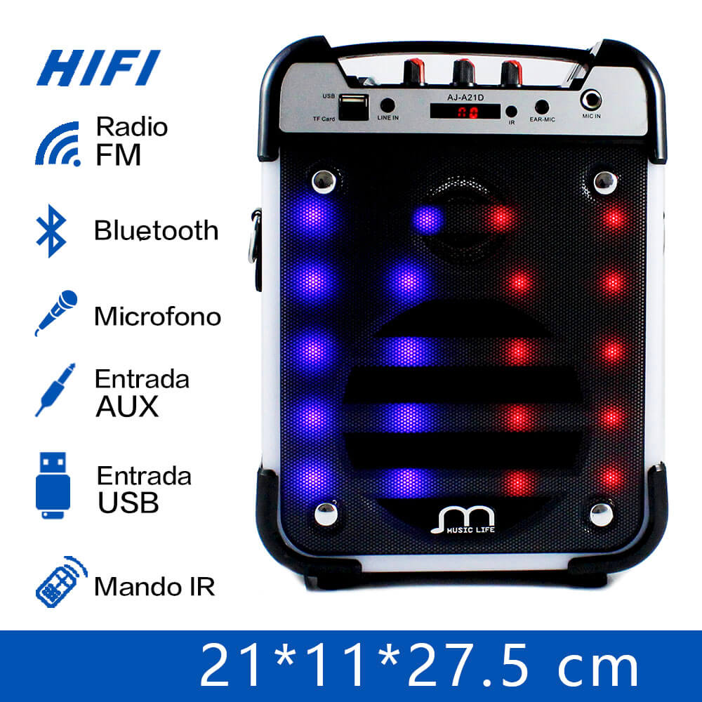 Bluetooth Speaker Karaoke Portable Wireless with Microphone USB TF Card Rechargeable with FM Radio