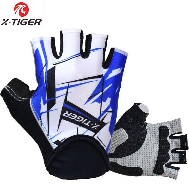 X-tiger alta qualidade hexágono 3d gel à prova de choque luvas esportivas metade dedo mtb luvas de bicicleta ciclismo luvas de equitação da bicicleta 1