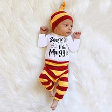 MUQGEW Halloween Clothes Newborn Infantil Baby Boys Girls Clothes Striped Letter Print Tops+Pants+Hat Casual Set Clothes(China)