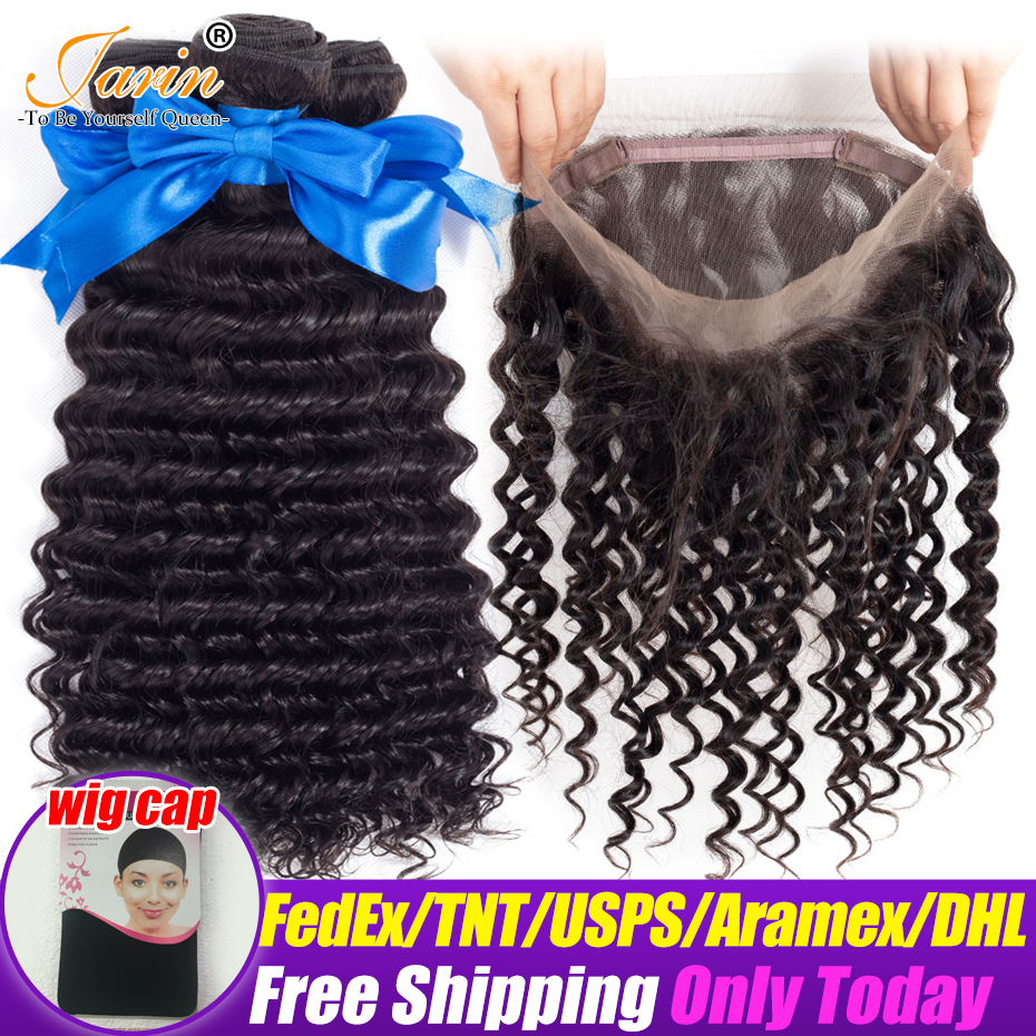 Jarin Deep Wave Bundles With 360 Lace Frontal Closure Brazilian Hair Weave Can Do Wigs Remy