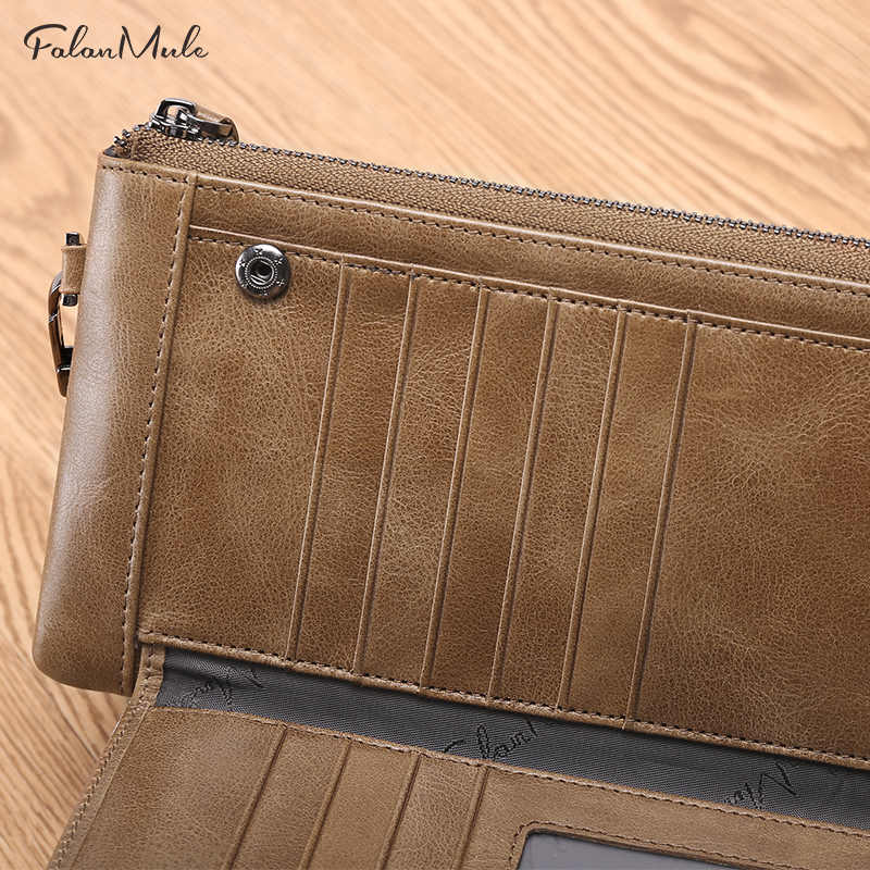 Falan Mule мужской кошелек Винтаж сумка с короткими ручками длинный натуральная кожа кошелек мужской молния карта кошелек держатель Органайзер телефон сумка 1365-7