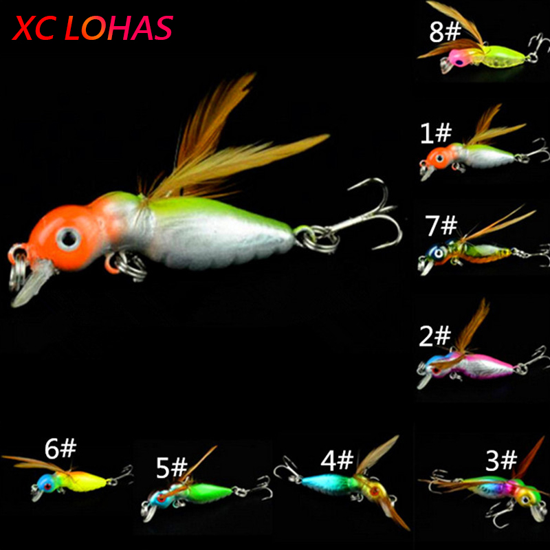 4.5cm 3.4g Sea Fishing Tackle Flying Fishing Lures Jig Wobbler Lure Grasshopper Insects Simulation Hard Lure Bait 8 Colors KC004 minnow fishing lures crank bait bass tackle 6 hook 3d eyes 11cm 13 5g sea fishing tackle diving swivel jig wobbler lure