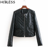 HCBLESS 2018 autumn and winter New Linggra chain leather coat round neck thin cotton women's plus cotton jacket