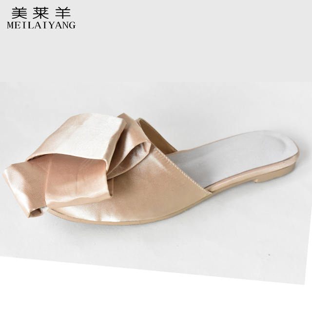 Новый бантом тапочки с плоской подошвой Открытый Атлас женская обувь