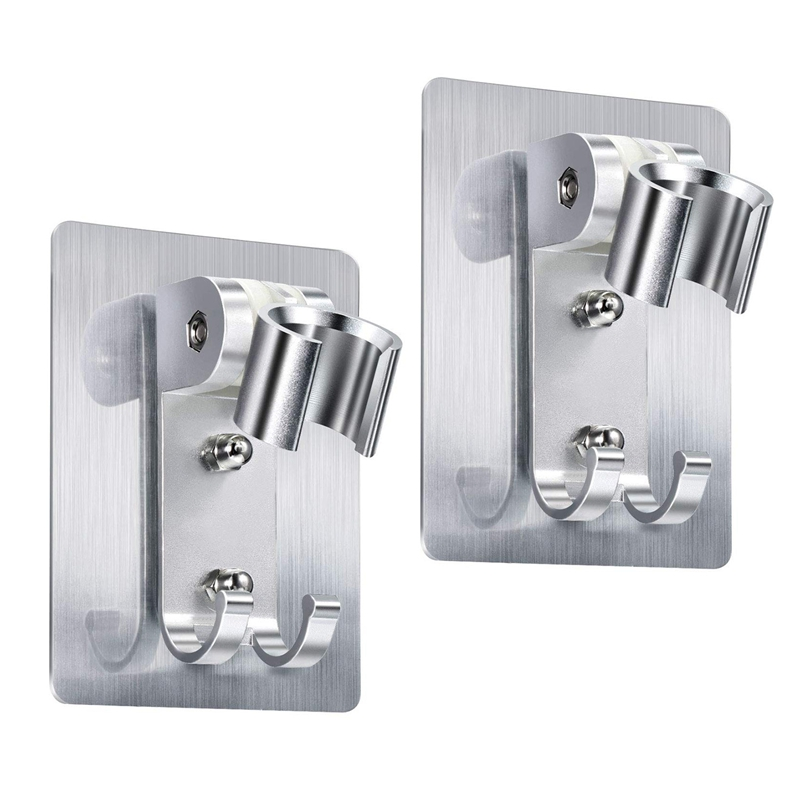 2 Pack Shower Head Holder Strong Adhesive Shower Head Wall Mounting Bracket Adjustable Shower Wand Holder With 2 Hanger Hooks