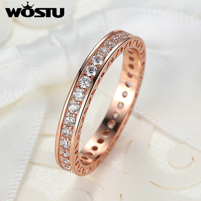 WOSTU Hot Sale Gold Color Rings With Clear CZ For Women Compatible With Original European Ring Jewelry Gift