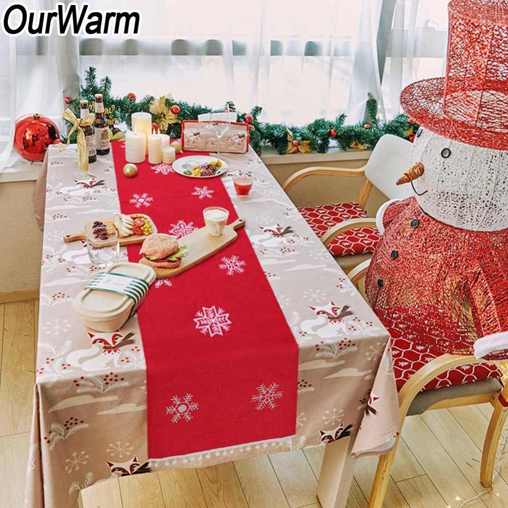 Christmas Table Runner Diy.Ourwarm Party Supplies Diy Christmas Table Decoration New Year Traditional Red Snowflake Table Runner For Home 41 183cm