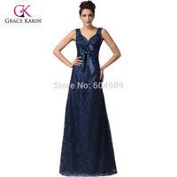 Grace Karin 2015 Elegant V Neck Navy Blue Retro Lace Evening Gowns Long Formal Prom Dress