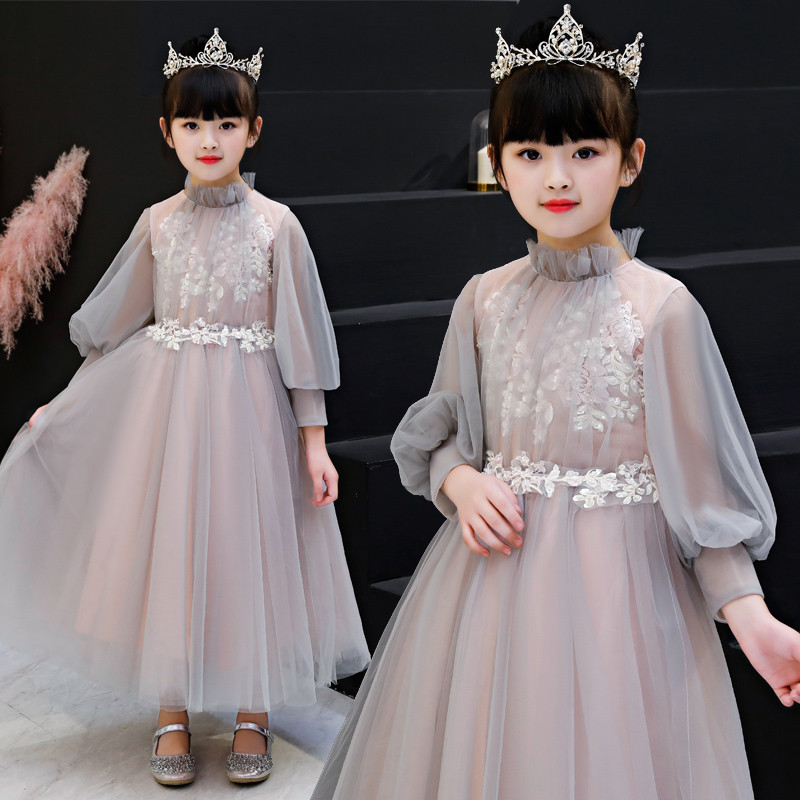 2018Autumn Winter New Teens Children Embroidery Appliques Flowers Mesh Dress Children Girls Piano Costume Host Mesh Long Dress asgharali misal