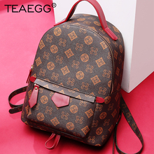 TEAEGG Women Monogram Backpack Women School Bags for Teenage