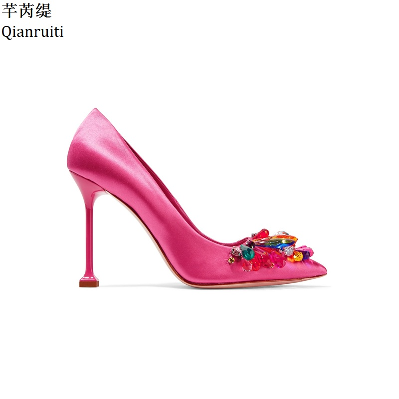 Qianruiti Rose Red Silk High Heels Women Shoes Colorful Studded Crystal Bridal Wedding Party Shoes Sexy Pointed Toe Women PumpsQianruiti Rose Red Silk High Heels Women Shoes Colorful Studded Crystal Bridal Wedding Party Shoes Sexy Pointed Toe Women Pumps